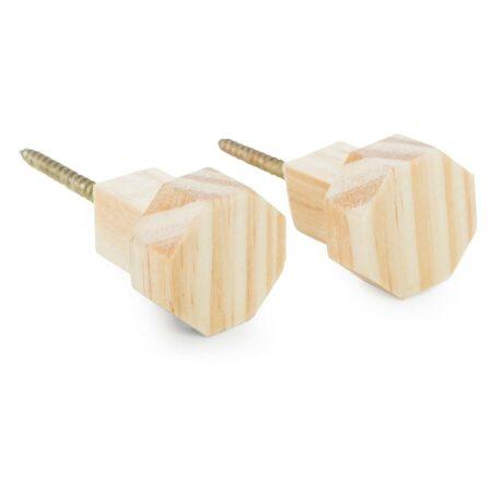 Ganchos octogonais de madeira para parede.
