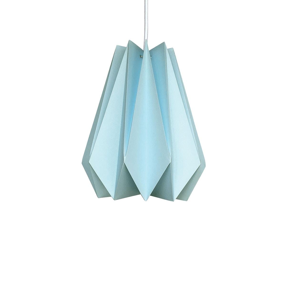 luminária pendente de papel Iluminoo - modelo Pinho (30) - Água Marinha