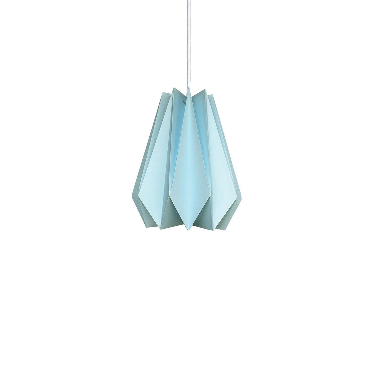 luminária pendente de papel Iluminoo - modelo Pinho (20) - Água Marinha