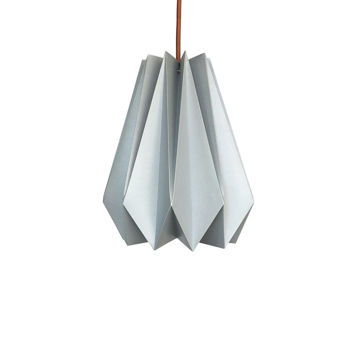 luminária pendente de papel Iluminoo - modelo Pinho (30) - Aluminium