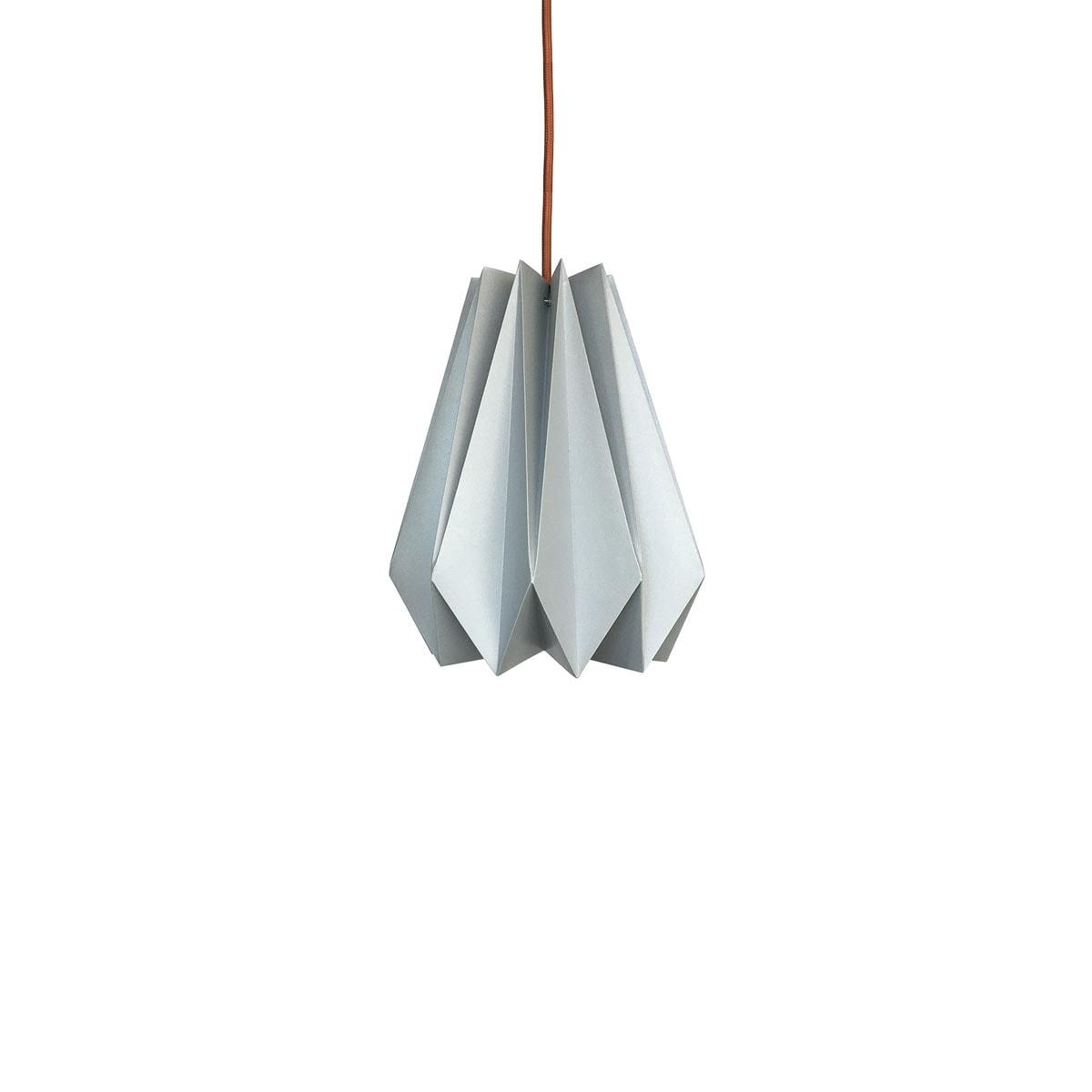 luminária pendente de papel Iluminoo - modelo Pinho (20) - Aluminium
