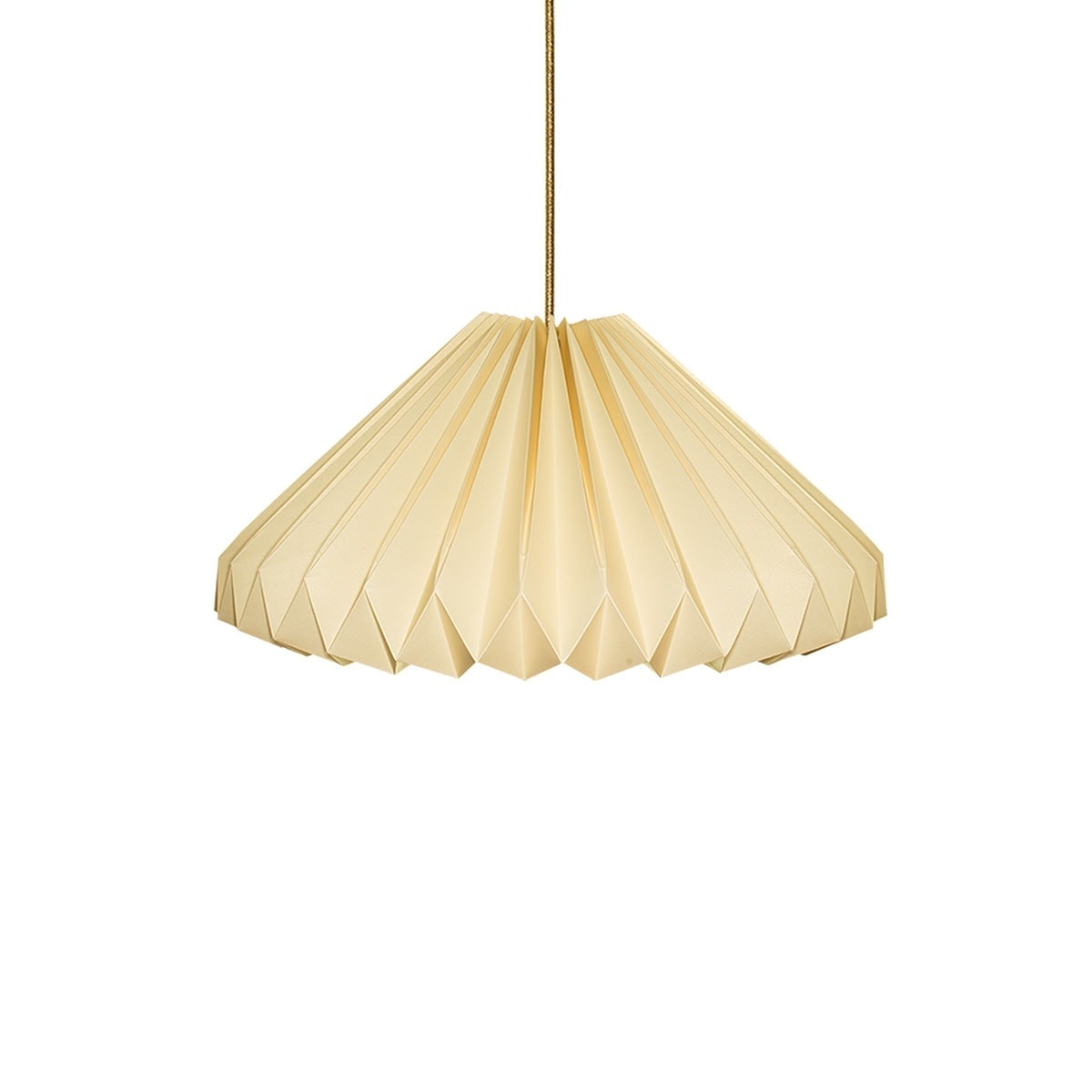 luminária pendente de papel Iluminoo - modelo Margarida - Champagne