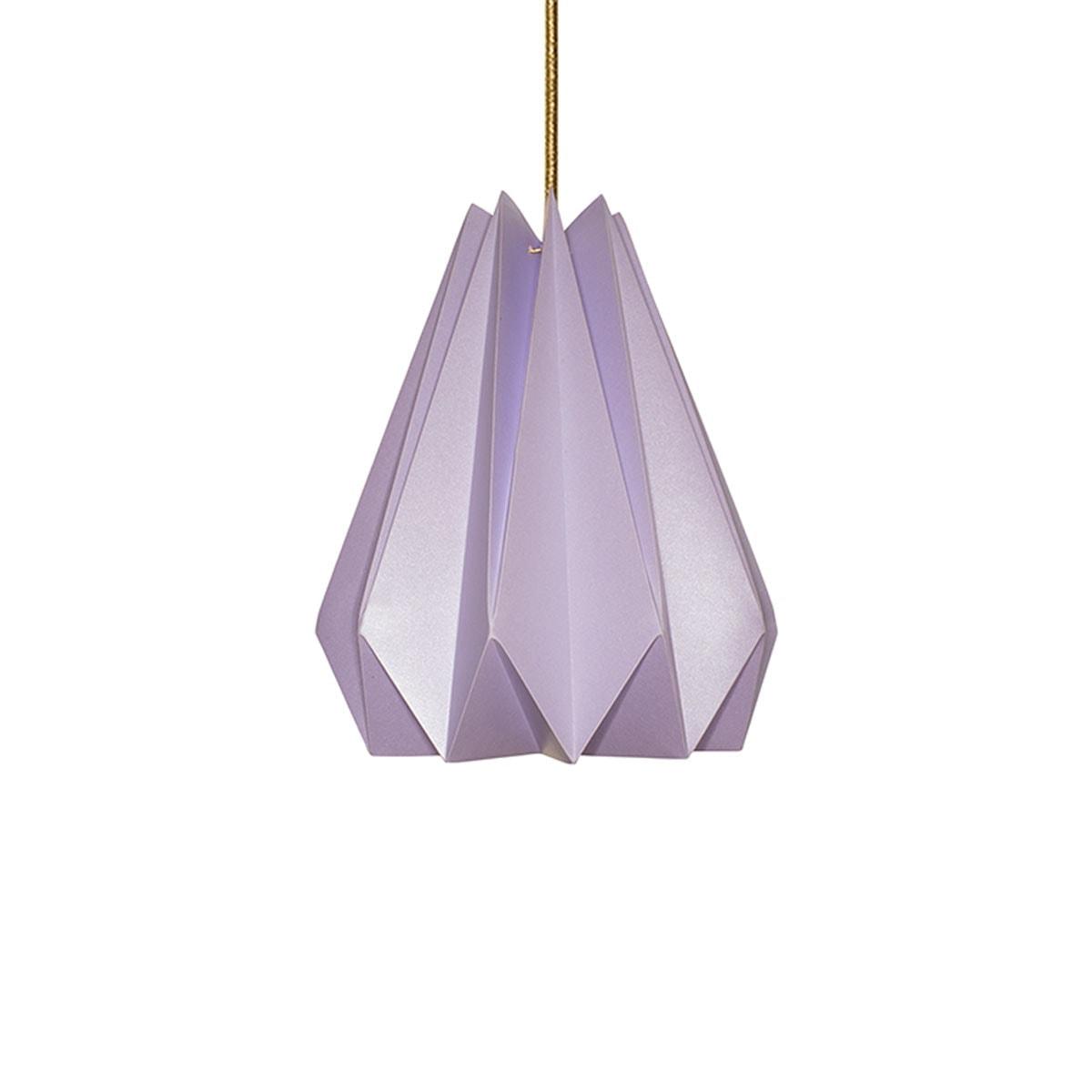 luminária pendente de papel Iluminoo - modelo Pinho (30) - Lilac