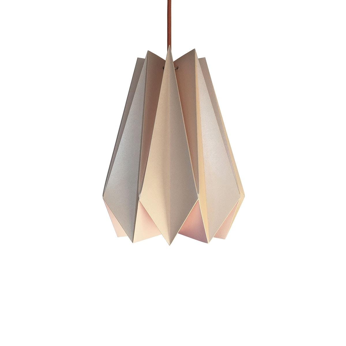 luminária pendente de papel Iluminoo - modelo Pinho (30) - Nude 2