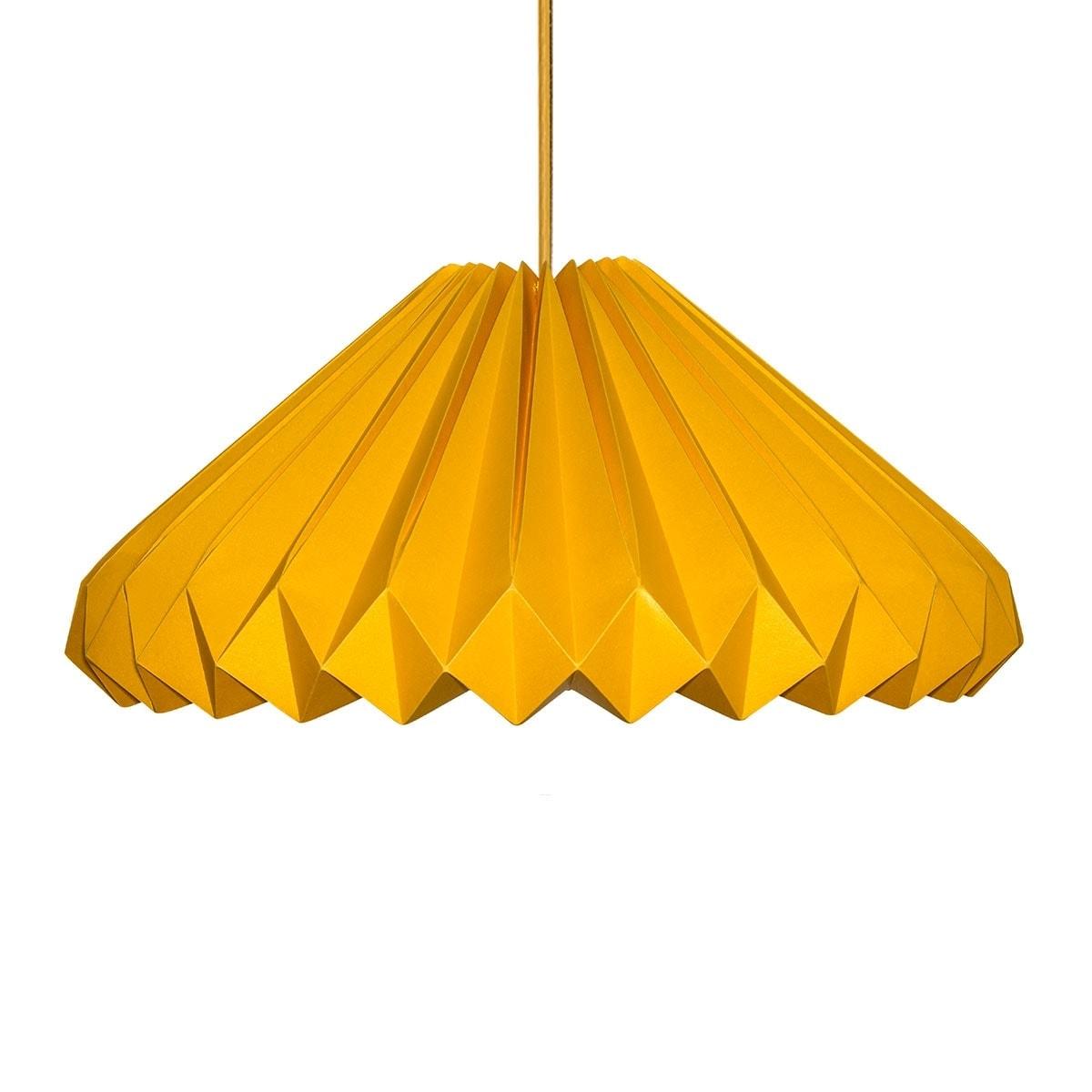 luminária pendente de papel Iluminoo - modelo Diamante Ouro Amarelo G