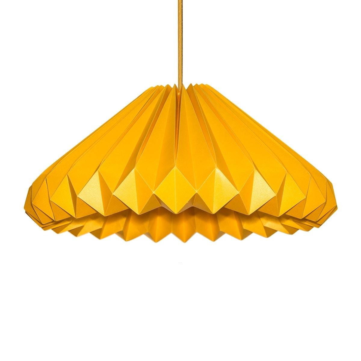 luminária pendente de papel Iluminoo - modelo Diamante Ouro Amarelo G 02