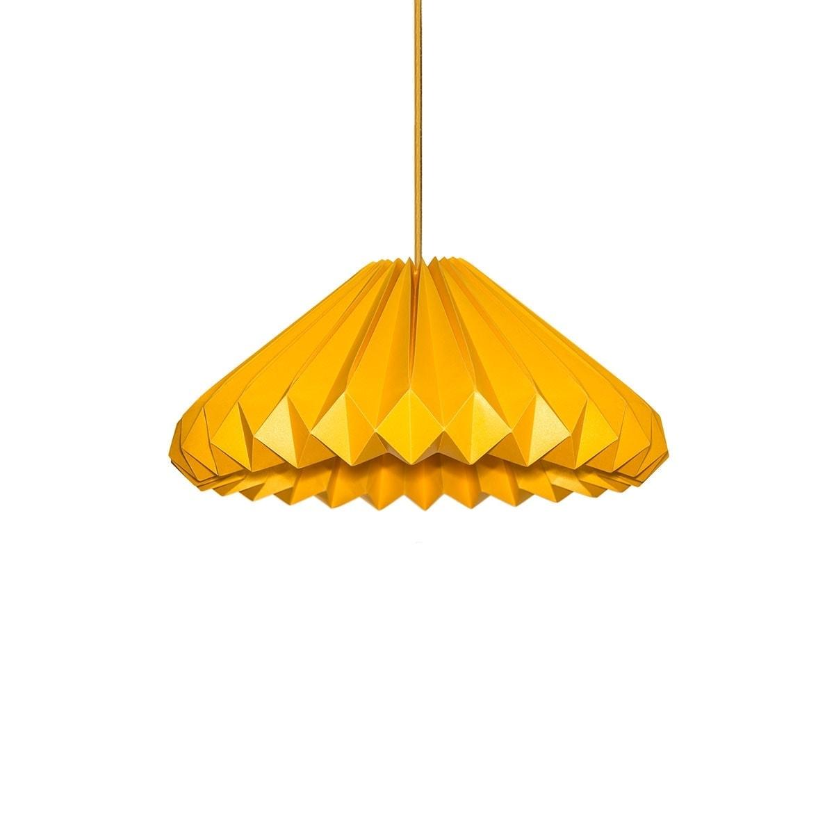 luminária pendente de papel Iluminoo - modelo Diamante Ouro Amarelo M 01
