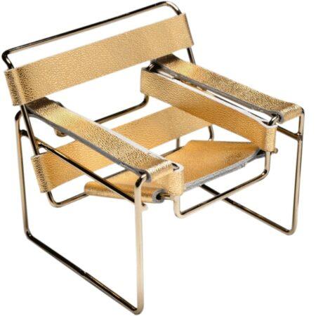 Miniatura Cadeira Wassily Especial Cromo Ouro