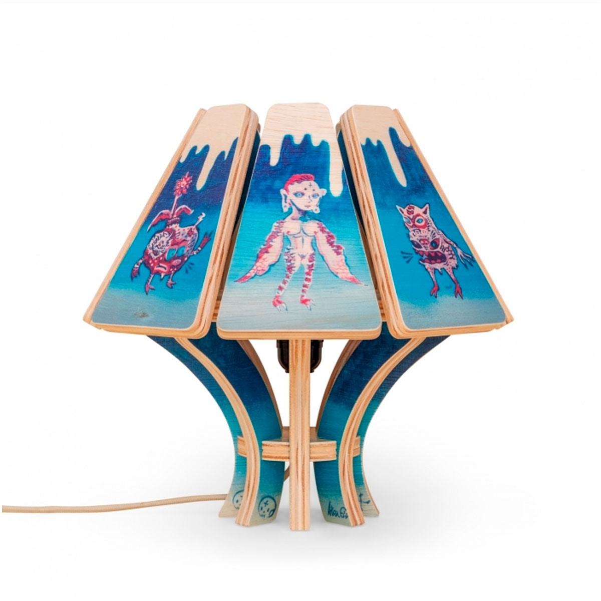Abajur de mesa de madeira da Fitto